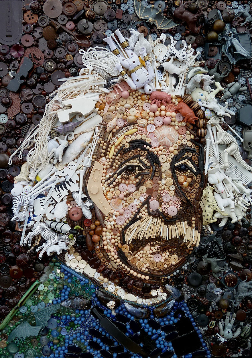 Artist Uses Hundreds of Found Objects To Recreate Iconic Paintings