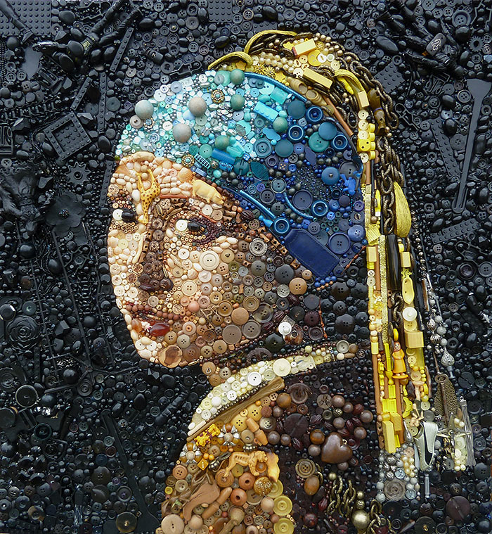 Artist Uses Hundreds of Found Objects To Recreate Iconic Paintings And Portraits