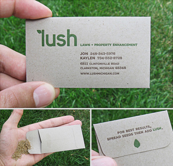 Four creative business card examples latka print and marketing whether you run a lawn service do landscaping or help people decorate their homes seed packets printed with your contact information are a great way to reheart Gallery