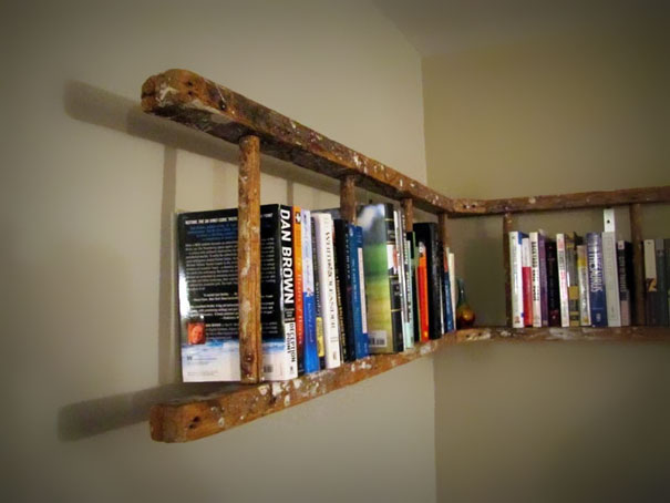 1 old ladder into bookshelf - Reuse Repurpose
