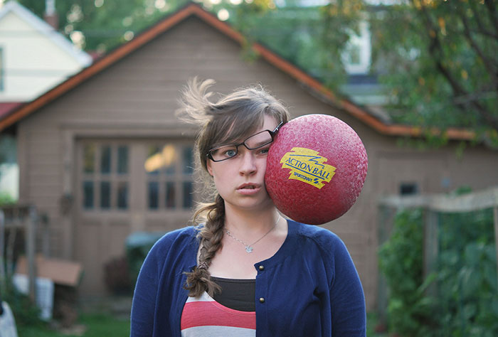 Stuff Being Thrown at My Head: Painfully Funny Self-Portraits by Kaija Straumanis