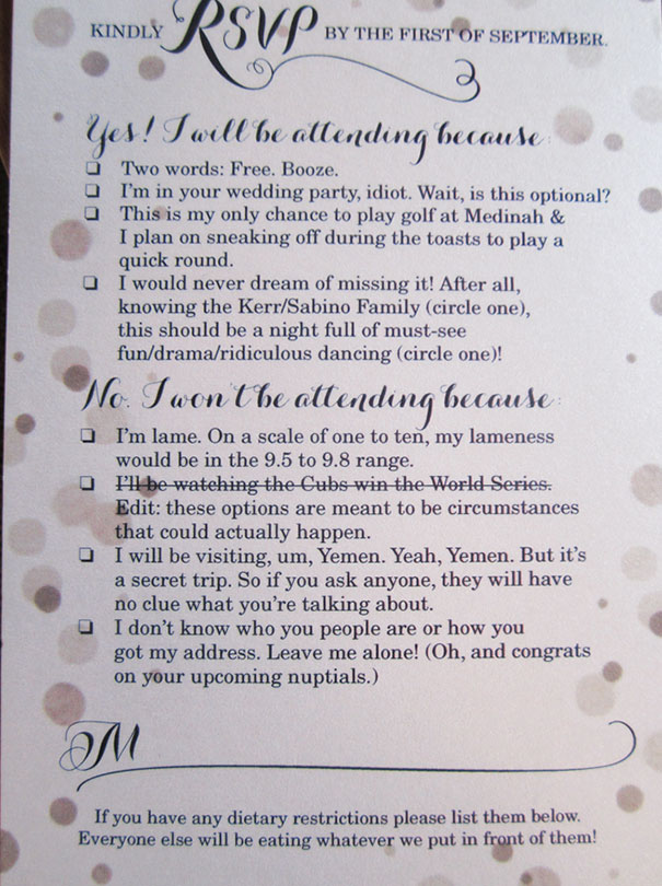9 Hilarious Wedding Invitations That Simply Cant Be Ignored Bored
