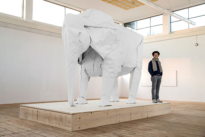 Artist Folds Life-Sized Elephant Out Of Single Massive 50 x 50 ft Sheet Of Paper
