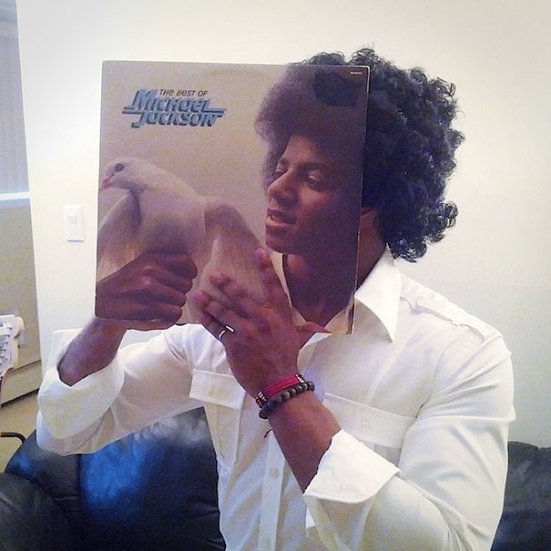 sleeveface  internet trend of people posing with old vinyl sleeves