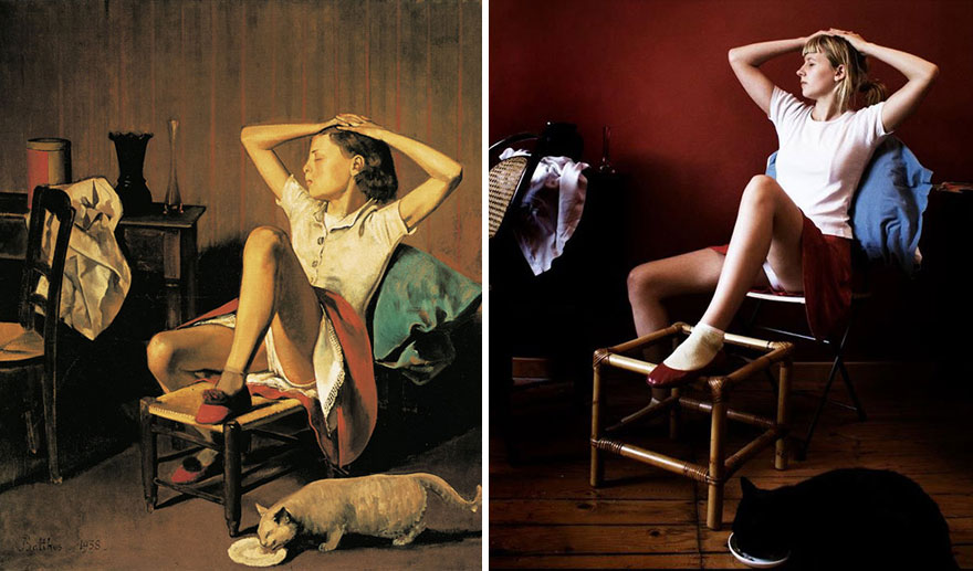 20 modern remakes of famous paintings bored panda for Balthus la chambre