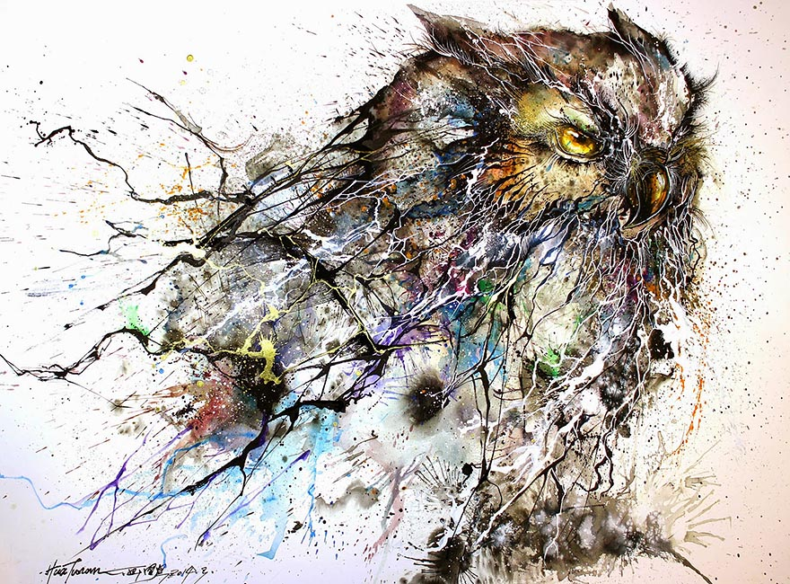 artist creates stunning owl painting with chaotic splashes of color