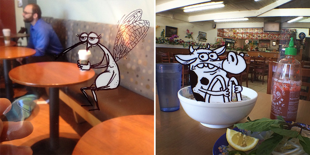 Artist Inserts Cartoons Into Real-World Situations By Doodling Them On Transparency Sheets