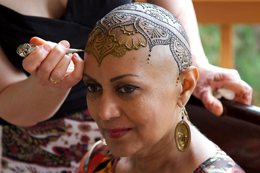 Elegant henna tattoo crowns help cancer patients cope with for Vulgar temporary tattoos