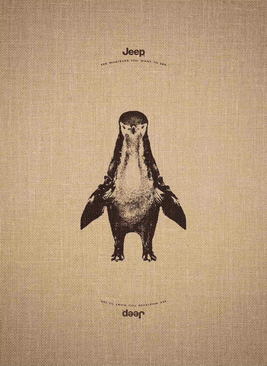jeep optical animal advertisement illusion clever ad upside down animals advertising ads burnett leo campaign penguin cool flipped giraffe works