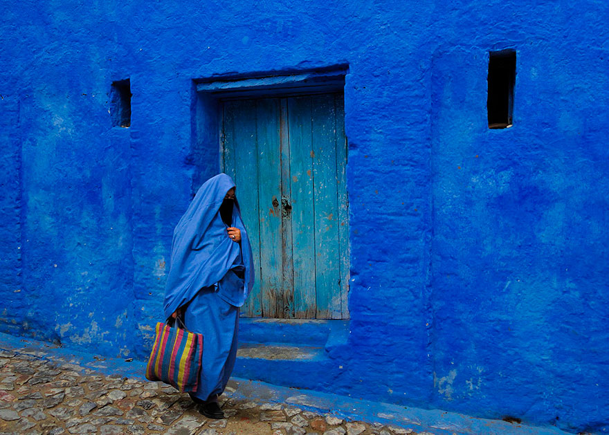 this old town in morocco is covered in blue paint bored