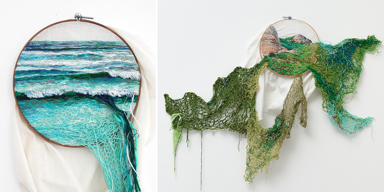 Artist Creates Landscape Embroidery Art That Leaps Out Of Its Frames