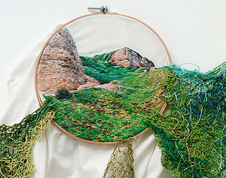 Artist creates landscape embroidery art that leaps out of