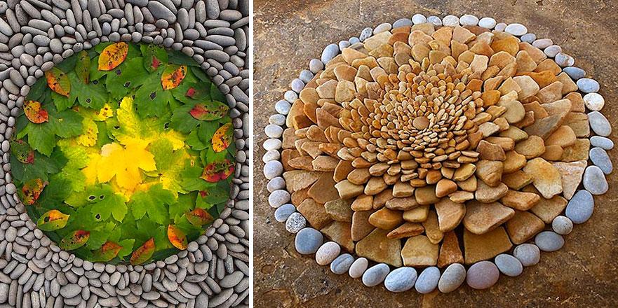 Artist Arranges Rocks And Leaves Into Beautiful Geometric Land Art