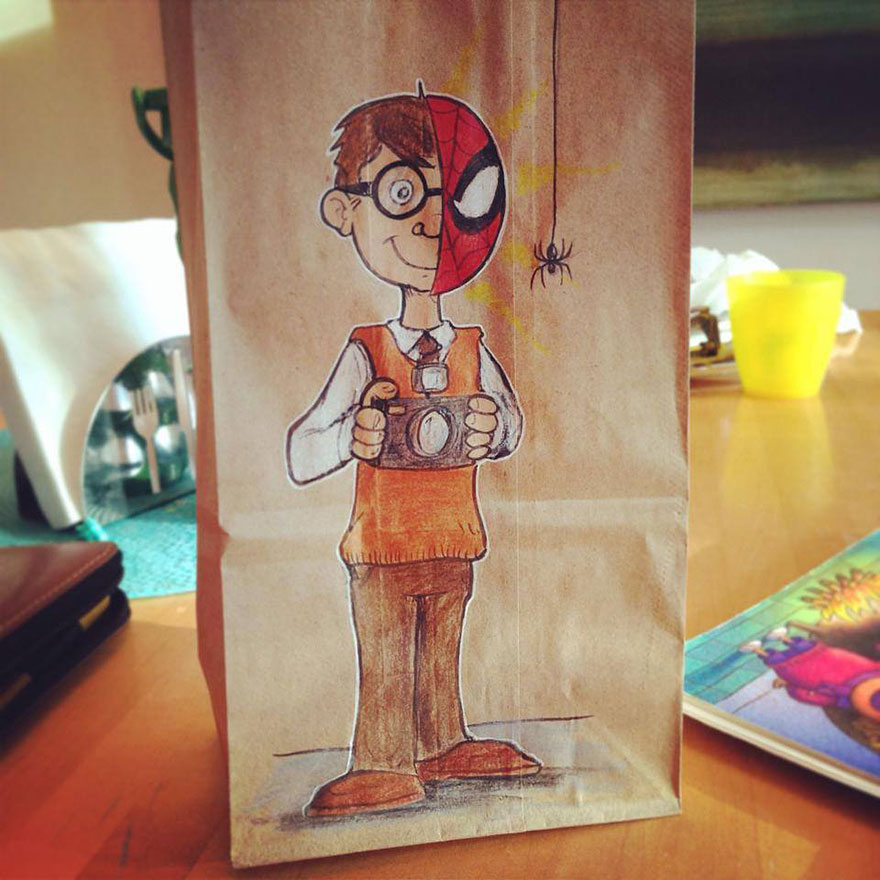 Dad drew cool cartoon characters on his sons lunch bags every day lunch bag dad funny illustrations bryan dunn 6 sciox Gallery