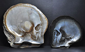 Delicate Skulls Carved Into Mother Of Pearl Shells By Gregory Halili