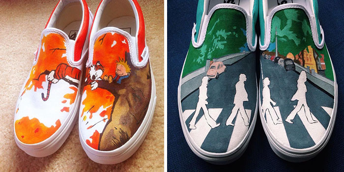 Hand-Painted Shoes With Calvin And Hobbes, The Beatles, And Other Pop Culture Icons