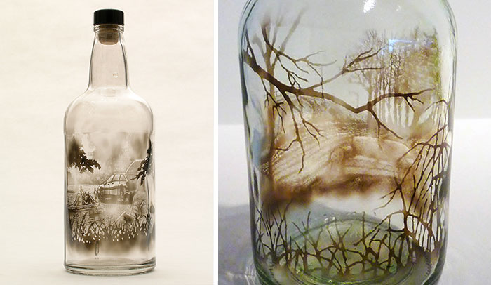 Artist Fills Bottles With Smoke And Brushes It Away To Create Beautiful Art