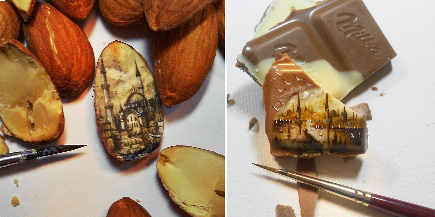 Artist Paints Insanely Small Paintings Onto Food