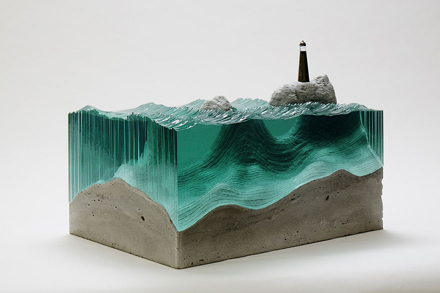 self taught artist layers glass sheets together to form ocean waves bored panda. Black Bedroom Furniture Sets. Home Design Ideas