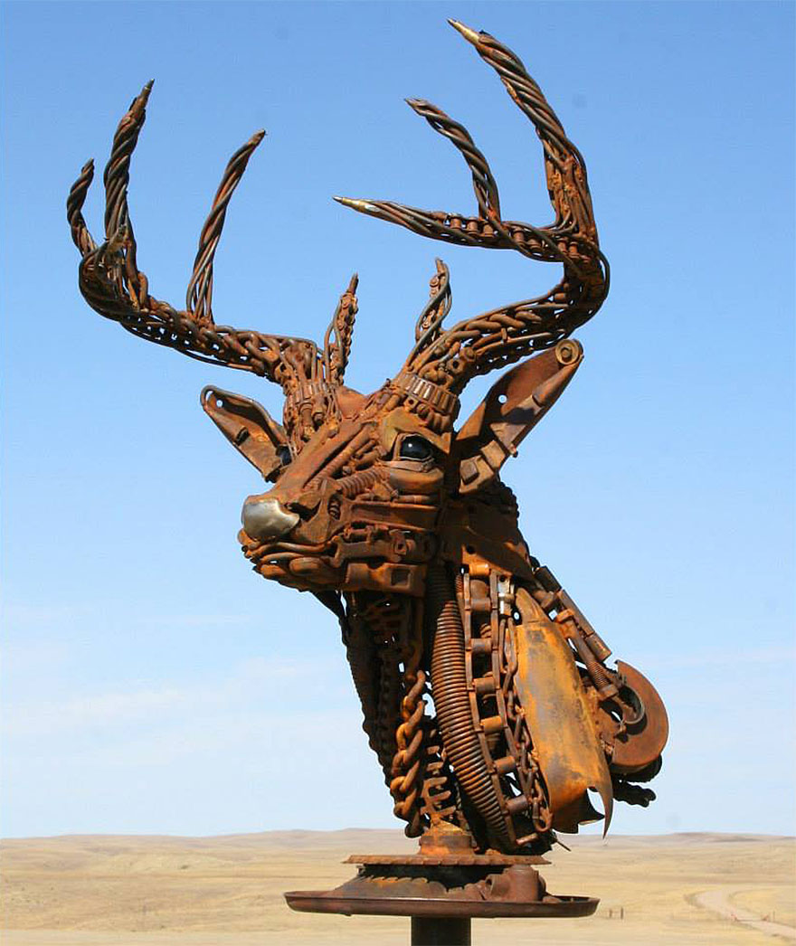 Old farm equipment and scrap metal turned into stunning