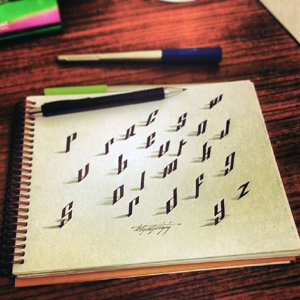Letters Leap Off The Page In 3D Calligraphy By Tolga Girgin