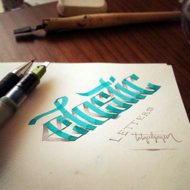 Letters Leap Off The Page In 3d Calligraphy By Tolga