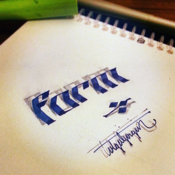 Letters Leap Off The Page In 3D Calligraphy By Tolga Girgin Bored