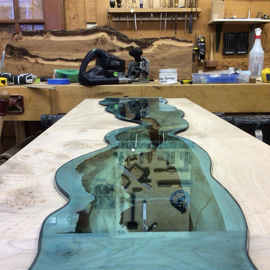 Glass rivers and lakes flow across beautiful tables by for Table design river