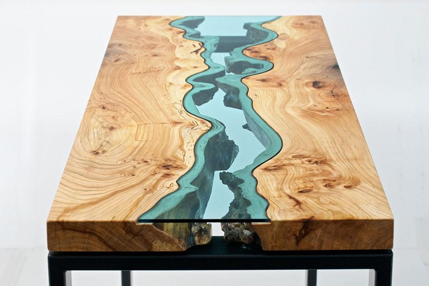 Custom Cut Glass River Table