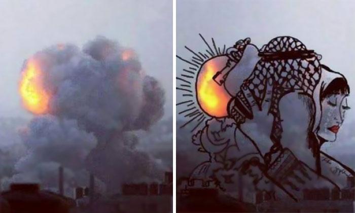 gaza-israel-rocket-strike-smoke-art-17