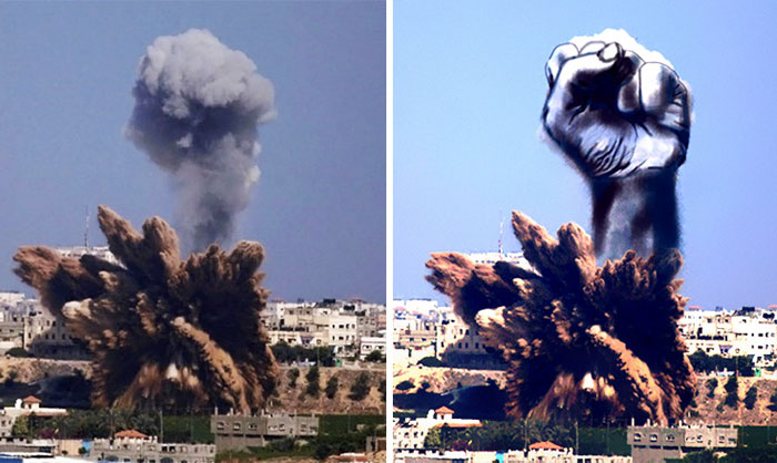 Palestinians Turn Smoke From Israeli Rocket Strikes Into Powerful Images