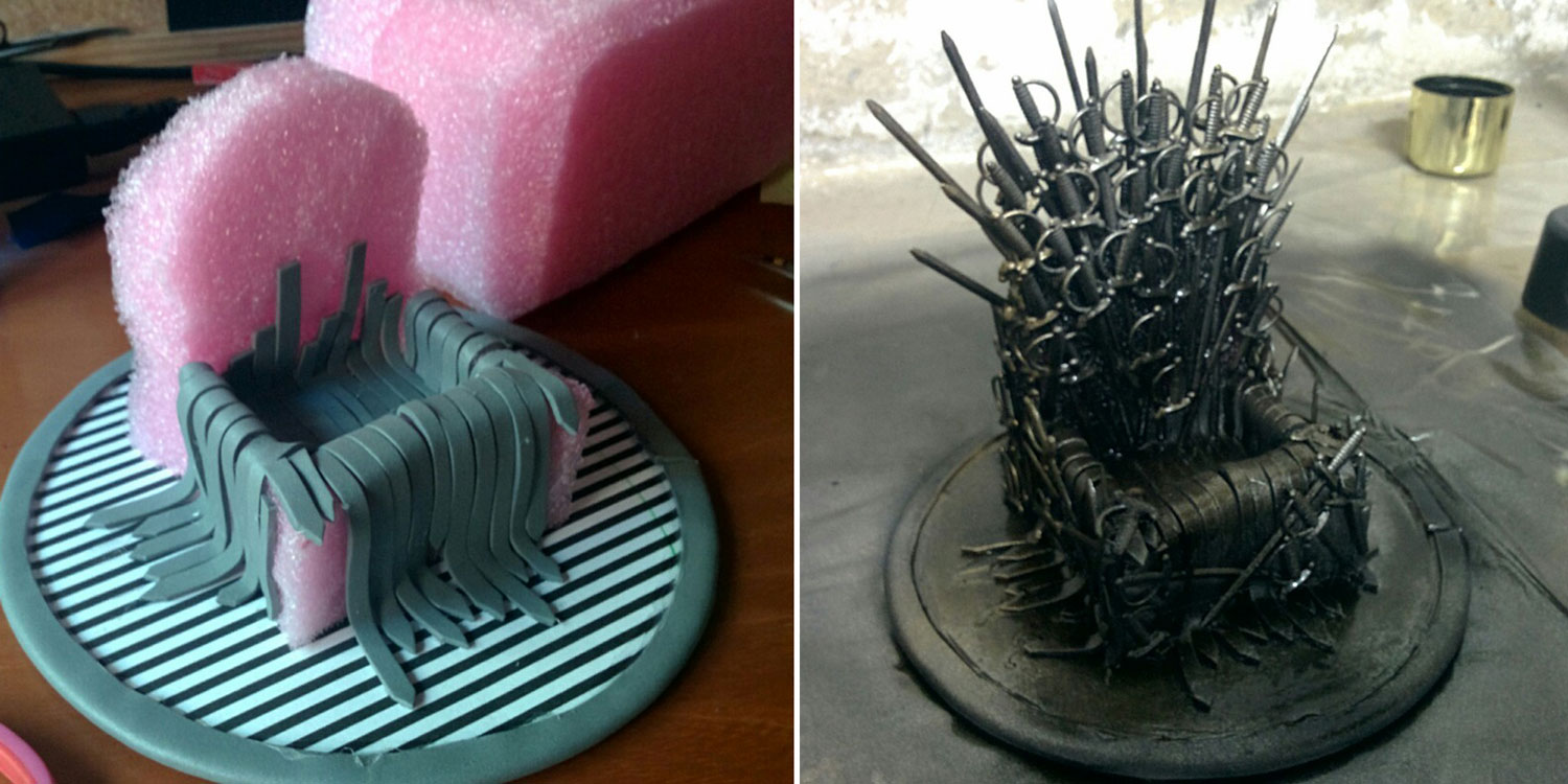 Game Of Phones Girl Makes A Mini DIY Iron Throne Stand