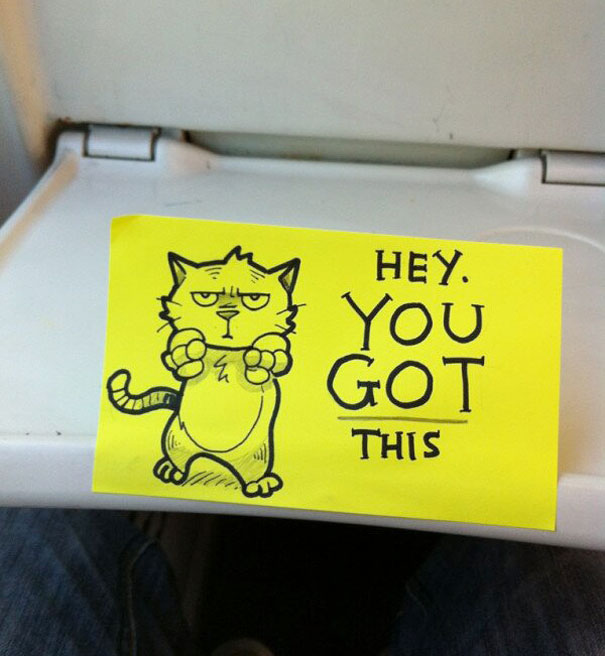 Artist Leaves Cute Motivational Sticky Notes On The Train Bored