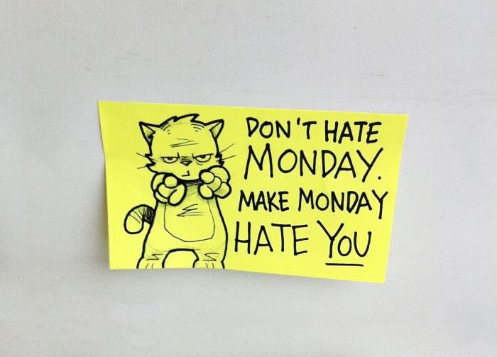 Illustration Art Bored Panda Part - Hilarious motivational cat post notes found train