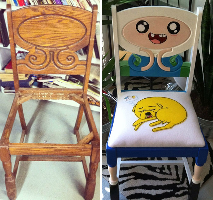 Antique Chair Restored And Repainted As Characters From Adventure Time