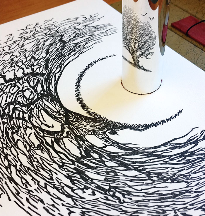 23 Stunning Anamorphic Artworks That Can Only Be Seen With A Mirror Cylinder