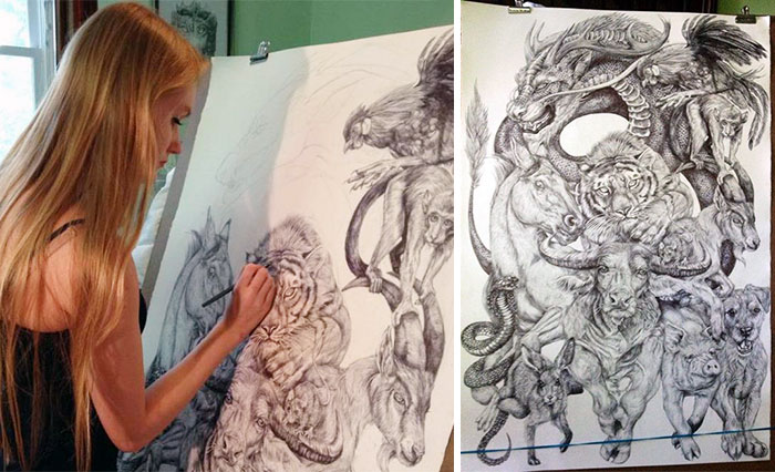 19-Year-Old Artist Spent Her Summer Drawing This Epic Chinese Zodiac Poster