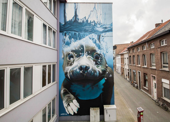 4-Story Street Art Mural Of A Dog Diving Underwater Unveiled In Belgium