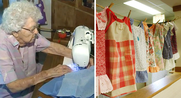 99-Year-Old Lady Sews A Dress A Day For Children In Need