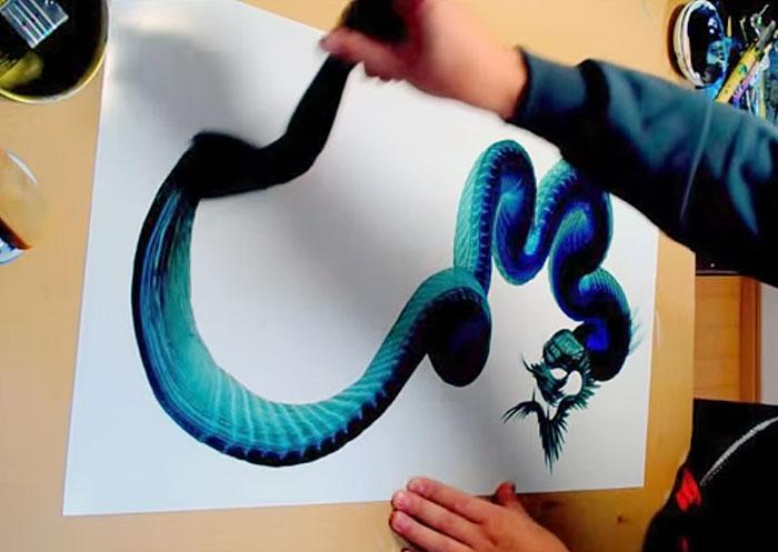 Stunning Dragon Paintings Based On A Single Brushstroke