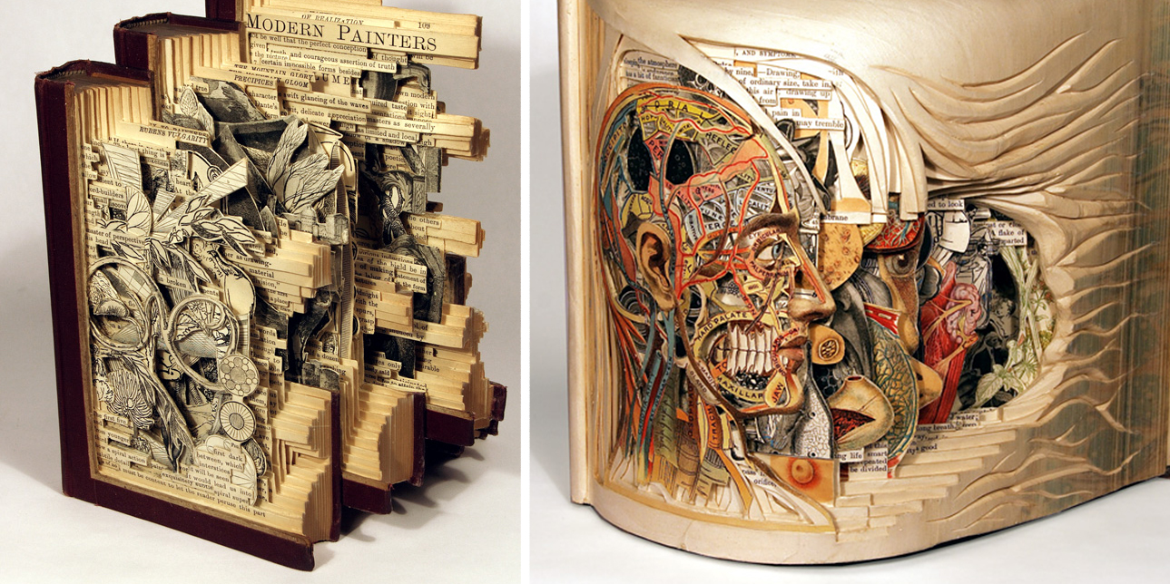 u2018book surgeon u2019 uses surgical tools to make incredible book sculptures