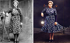 Historic Glass-Plate Photos From Romania Restored And Turned Into Colorful Art