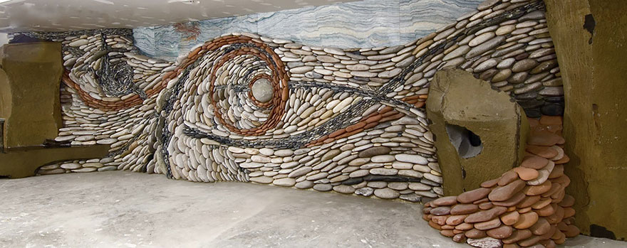 The Ancient Art Of Stone: Couple Creates Beautiful Rock Wall Art   Rock Wall  Design