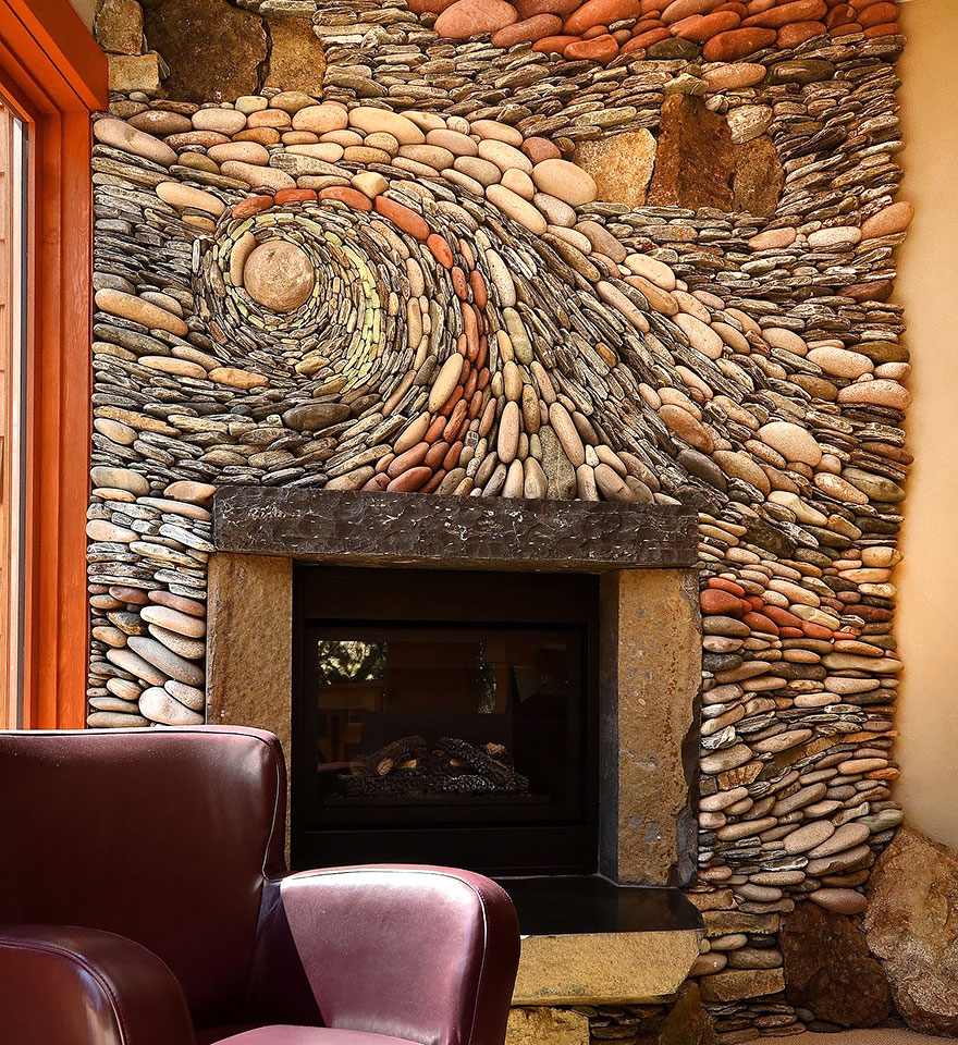 the ancient art of stone couple creates beautiful rock wall art