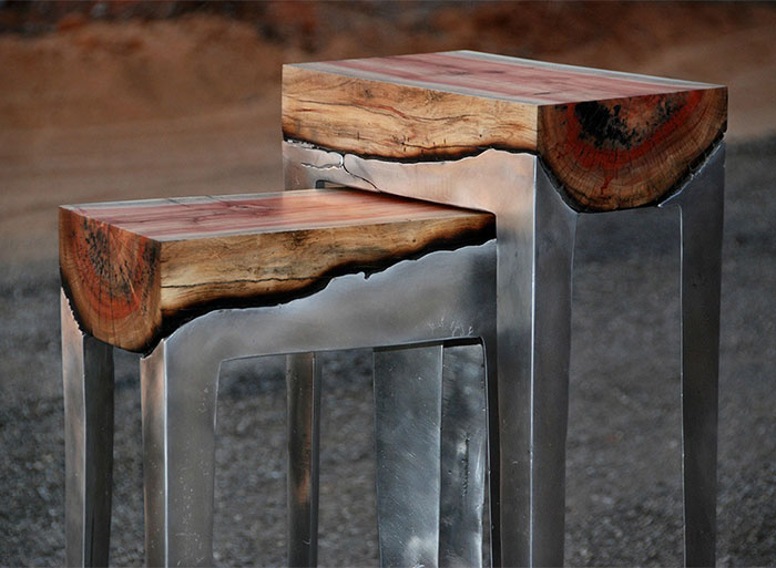 Wood And Metal Unite In Striking Furniture By Hilla Shamia