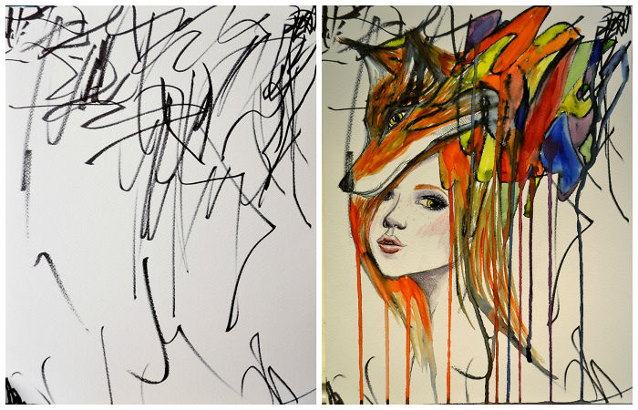 Artist Turns Her Two Year Old's Sketches Into Paintings!