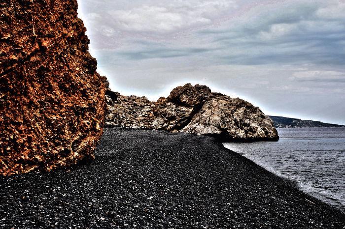 Mavra Volia (black Pebble Beach), Chios Island, Greece