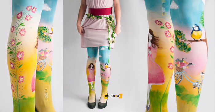 Hand Painted Tights By Movanas Dizajn