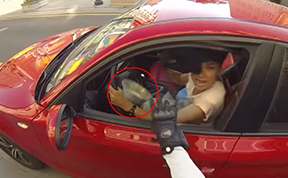 Vigilante Woman On A Motorcycle Chases Down Littering Drivers And Returns Their Trash - By Force