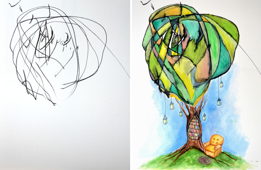 artist turns childrens drawings into paintings 2 - Painting Sketches For Kids
